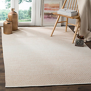 Flat Weave 6' x 9' Area Rug, Beige/White, rollover