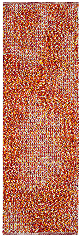 "Flat Weave 2'3"" x 7' Runner Rug, Orange, large"