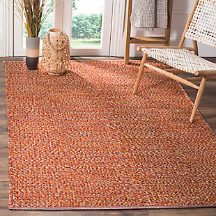 Flat Weave 5' x 8' Area Rug, Orange, rollover