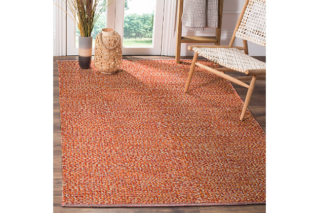 Flat Weave 5' x 8' Area Rug, Orange, large