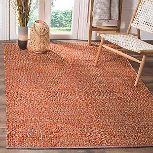 Flat Weave 5' x 8' Area Rug, Orange, rollover