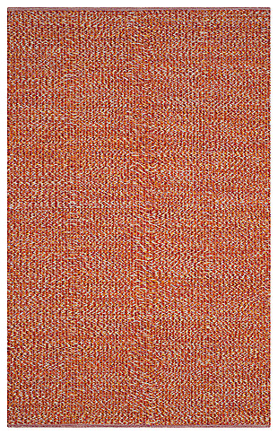 Flat Weave 6' x 9' Area Rug, Orange, large