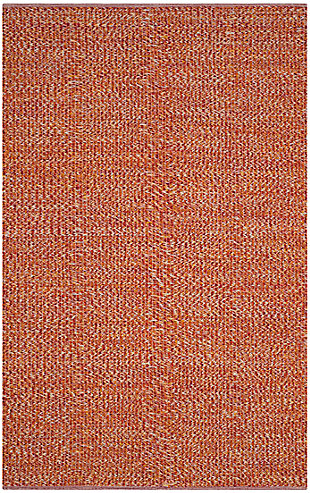 Flat Weave 8' x 10' Area Rug, Orange, large