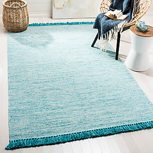 Flat Weave 5' x 8' Area Rug, Blue, rollover