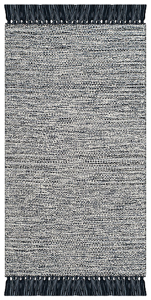 "Flat Weave 2'3"" x 7' Runner Rug, Gray, large"