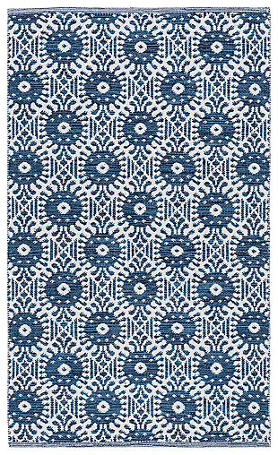 Hand Crafted 3' x 5' Doormat, White/Blue, large