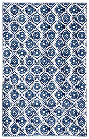 Hand Crafted 5' x 8' Area Rug, White/Blue, large