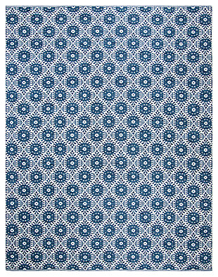 Hand Crafted 8' x 10' Area Rug, White/Blue, large