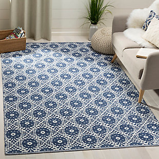 Hand Crafted 8' x 10' Area Rug, White/Blue, rollover