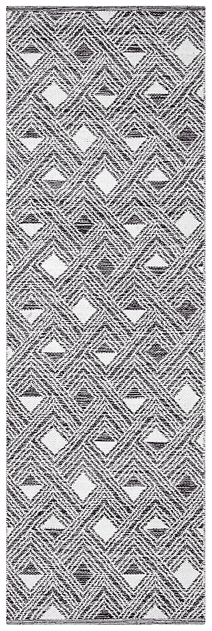 """Hand Crafted 2'3"""" x 7' Runner Rug, Black/White, large"""