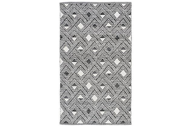 Power Loomed 3' x 5' Doormat, Black/White, large