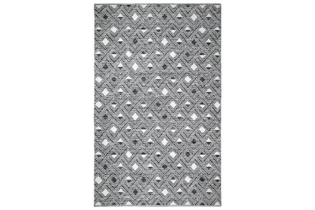 Power Loomed 5' x 8' Area Rug, Black/White, large