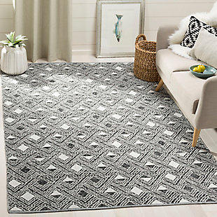 Power Loomed 5' x 8' Area Rug, Black/White, rollover