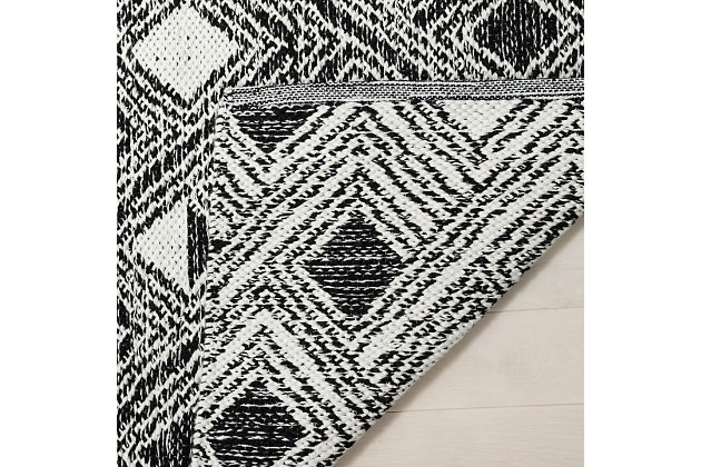 Power Loomed 8' x 10' Area Rug, Black/White, large