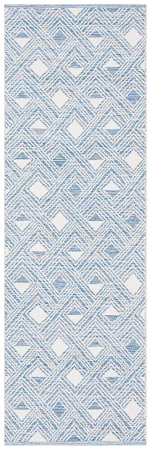 "Power Loomed 2'3"" x 7' Runner Rug, White/Blue, large"