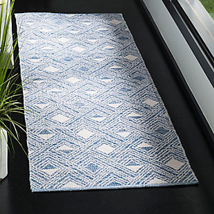 "Power Loomed 2'3"" x 7' Runner Rug, White/Blue, rollover"