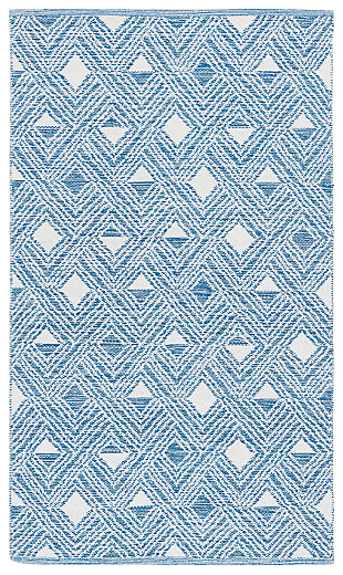 Power Loomed 3' x 5' Doormat, White/Blue, large