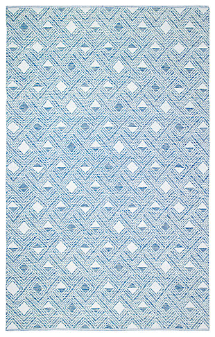 Power Loomed 5' x 8' Area Rug, White/Blue, large