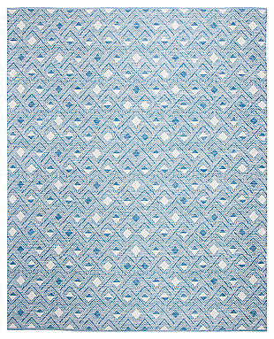 Power Loomed 8' x 10' Area Rug, White/Blue, large