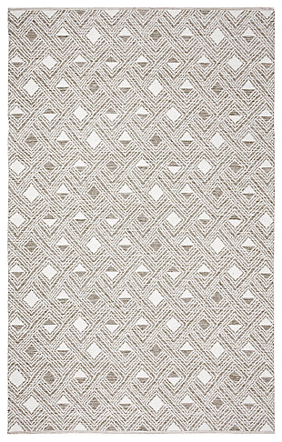Power Loomed 5' x 8' Area Rug, Gray/White, rollover