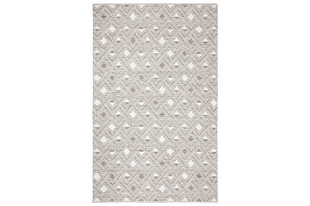 Power Loomed 5' x 8' Area Rug, Gray/White, large