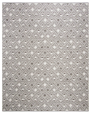 Power Loomed 8' x 10' Area Rug, Gray/White, large