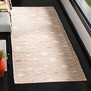 "Power Loomed 2'3"" x 7' Runner Rug, Orange/White, rollover"