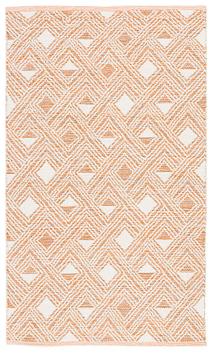 Power Loomed 5' x 8' Area Rug, Orange/White, large