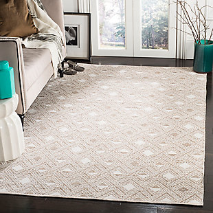 Power Loomed 5' x 8' Area Rug, Beige/White, rollover