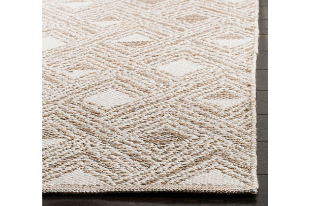 Power Loomed 5' x 8' Area Rug, Beige/White, large
