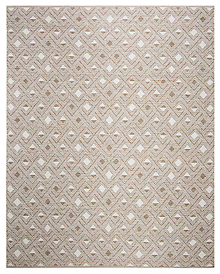 Power Loomed 8' x 10' Area Rug, Beige/White, large