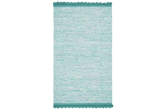 Hand Crafted 3' x 5' Area Rug, Blue, large