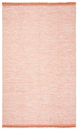 Hand Crafted 5' x 8' Area Rug, Orange, large