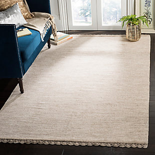 Hand Crafted 5' x 8' Area Rug, Beige, rollover