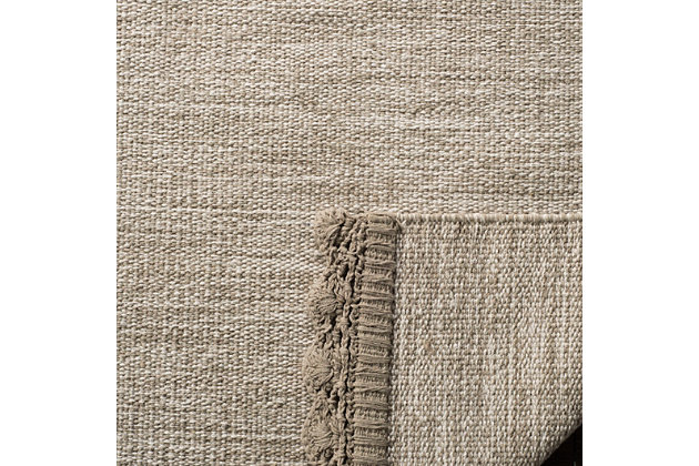 Hand Crafted 8' x 10' Area Rug, Beige, large