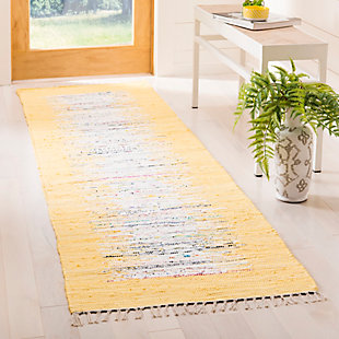 "Hand Crafted 2'3"" x 7' Runner Rug, Yellow/White, rollover"
