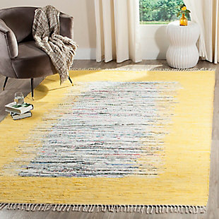 Hand Crafted 6' x 9' Area Rug, Yellow/White, rollover