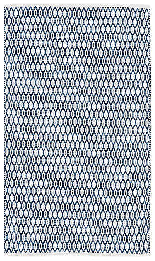 Hand Crafted 3' x 5' Area Rug, Blue/White, large