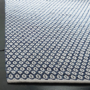 Hand Crafted 5' x 8' Area Rug, Blue/White, large