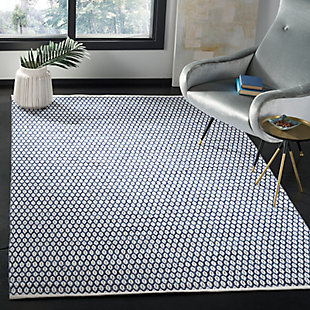 Hand Crafted 5' x 8' Area Rug, Blue/White, rollover