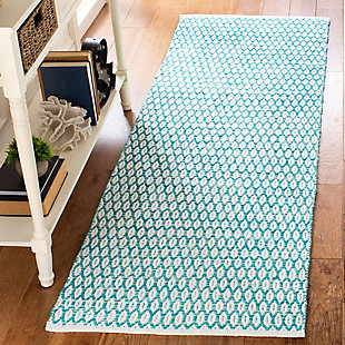 """Hand Crafted 2'3"""" x 7' Runner Rug, White/Blue, rollover"""