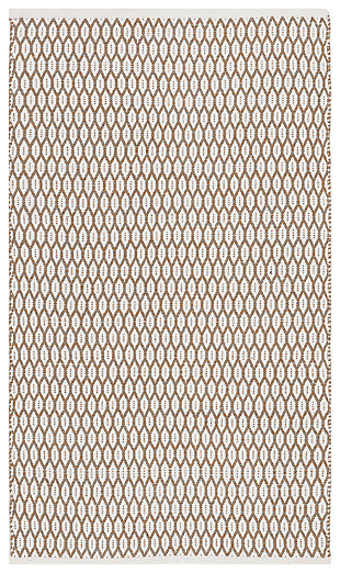 Hand Crafted 3' x 5' Doormat, Beige/White, large