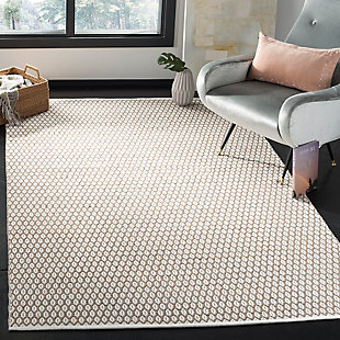 Hand Crafted 8' x 10' Area Rug, Beige/White, rollover