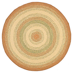 Reversible 8' x 8' Round Rug, Rust, large