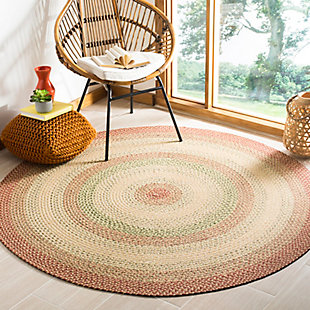 Reversible 8' x 8' Round Rug, Rust, rollover