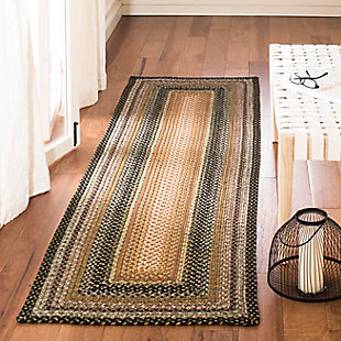 "Reversible 2'3"" x 8' Runner Rug, Beige/Brown, rollover"