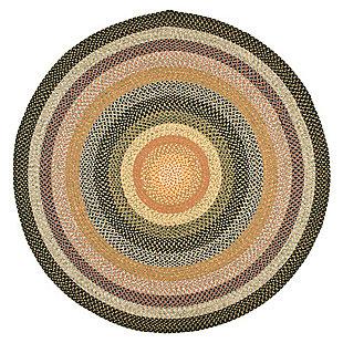 Reversible 8' x 8' Round Rug, Beige/Brown, large