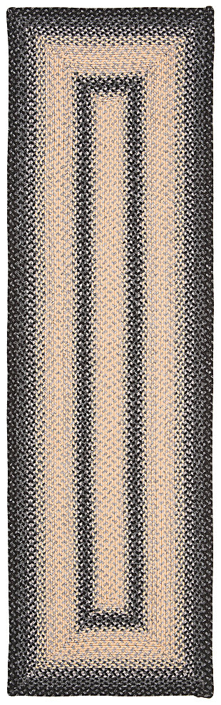"Reversible 2'3"" x 8' Runner Rug, Black/Gray, large"