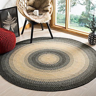 Reversible 8' x 8' Round Rug, Multi, rollover