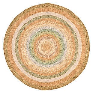 Reversible 8' x 8' Round Rug, Beige, large